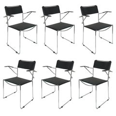 Six Chair with Armrests in Steel and Leather, Stackable, Italian Chair Belotti