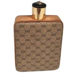 Gucci Light Brown Leather Thermos Flask, 1970s