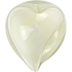 Barbini Murano White Gold Flecks Italian Art Glass Heart Shaped Bowl Dish