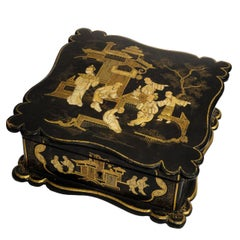 Asian Decor Jewelry Box in Black Lacquer Napoleon III