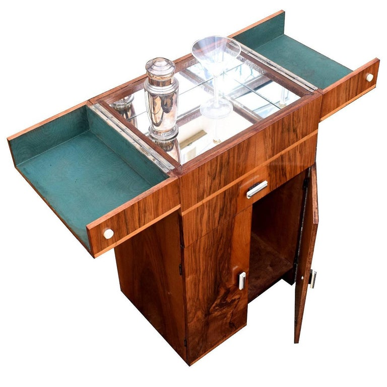 English 1930s Art Deco Walnut Portable Cocktail Cabinet