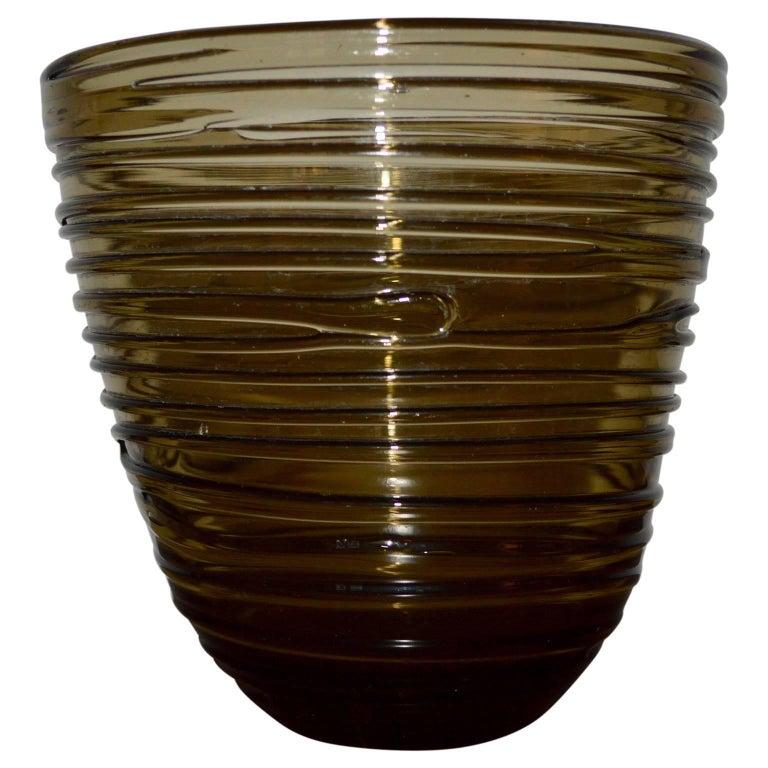 Italian Mid-Century Modern Glass Vase For Sale