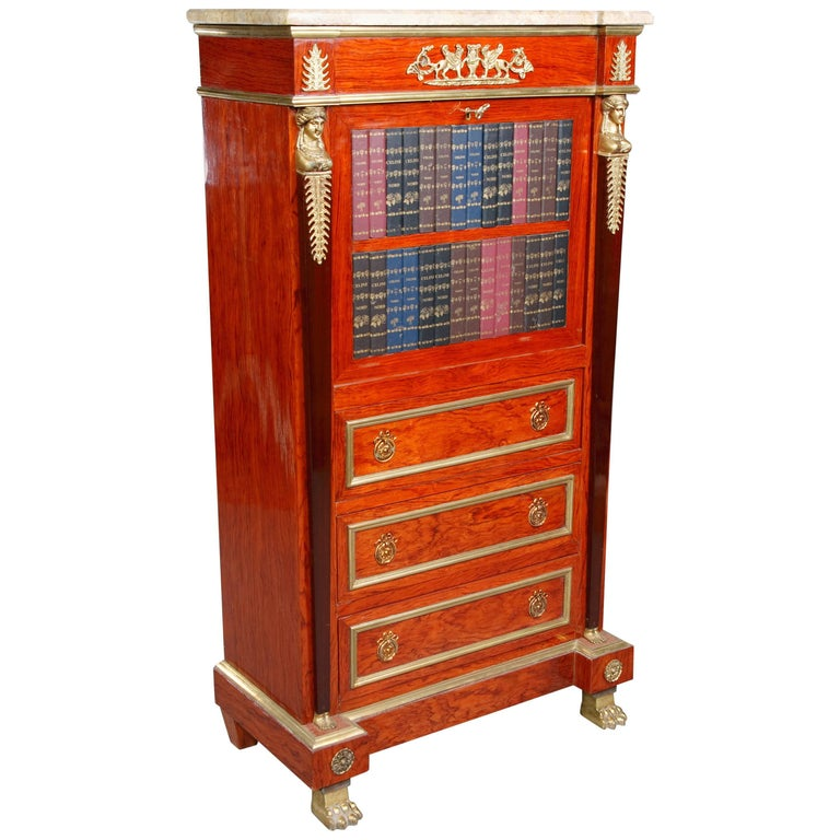 20th Century Library Secretaire in the Empire Style Mahogany Veneer For Sale