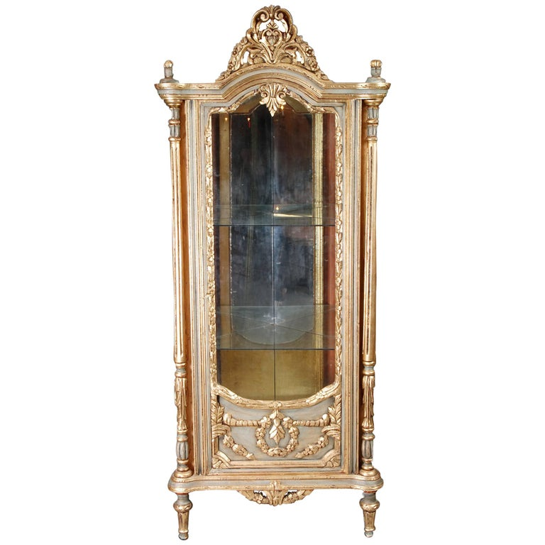 20th Century Cabinet in the Louis XV Style Carved Beechwood and Poliment Gilded
