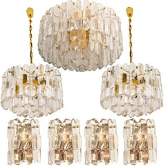 Set of five J.T. Kalmar 'Palazzo' Light Fixtures Gilt Brass and Glass, 1970