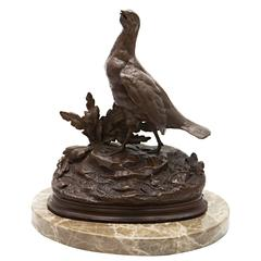 Signed Bronze Bird on Marble Stand