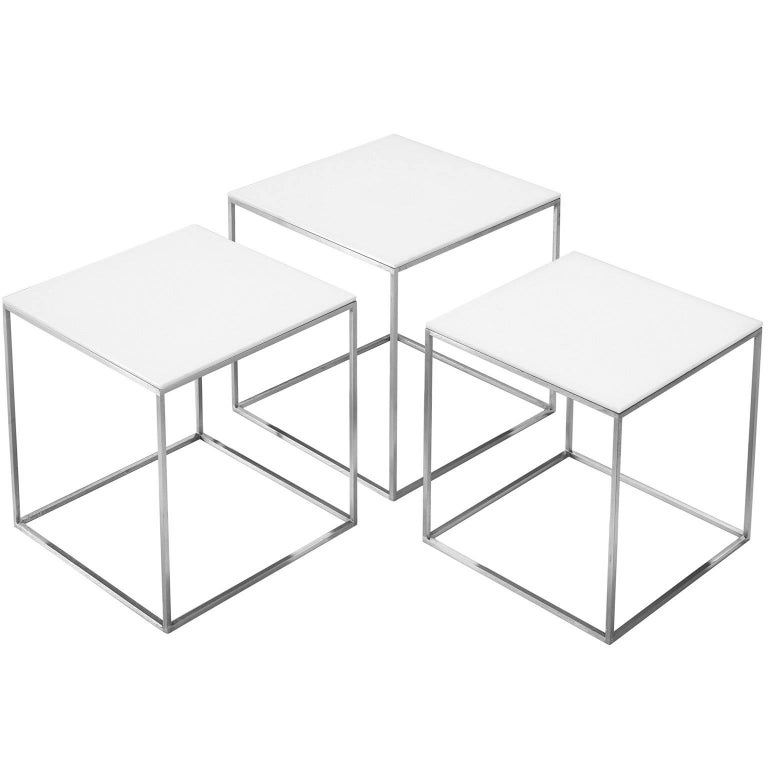 Poul Kjærholm PK71 Nesting Tables in Steel