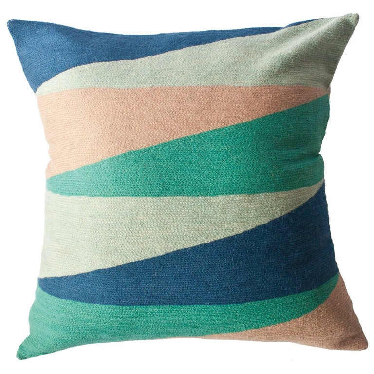 Zimbabwe Landscape Spring Hand Embroidered Modern Geometric Throw Pillow Cover For Sale at 1stdibs