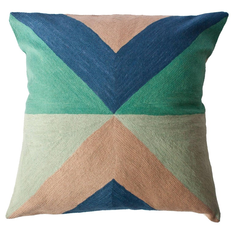 Modern Embroidered Throw Pillow : Zimbabwe West Spring Hand Embroidered Modern Geometric Throw Pillow Cover For Sale at 1stdibs