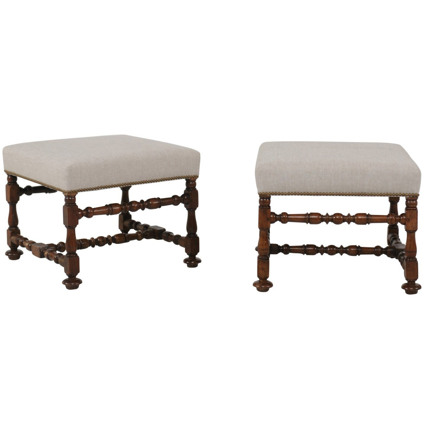 Pair of English 1870s Walnut Stools with Turned Legs and Newly Upholstered Seats