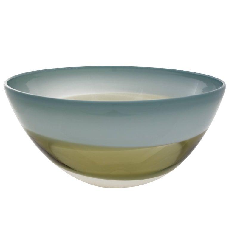 Earth Tone Blown Glass Bowl, Home Decor by Designer Caleb Siemon