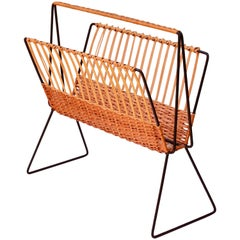 Mid-Century Modernist Wicker Magazine Rack Stand in the Style of Rohe Noordwolde