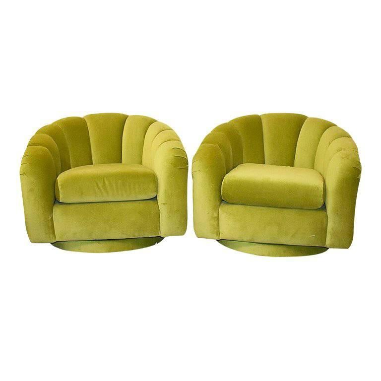 Scalloped Green Velvet Channel Swivel Chairs in the Style of Milo Baughman
