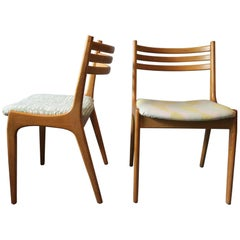Finely Shaped Rare Pair of Danish Elm Chairs