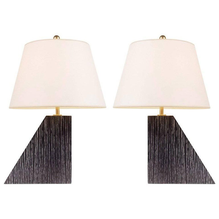 "Ebonized ""Alexander"" Lamps by Kimille Taylor For Sale"