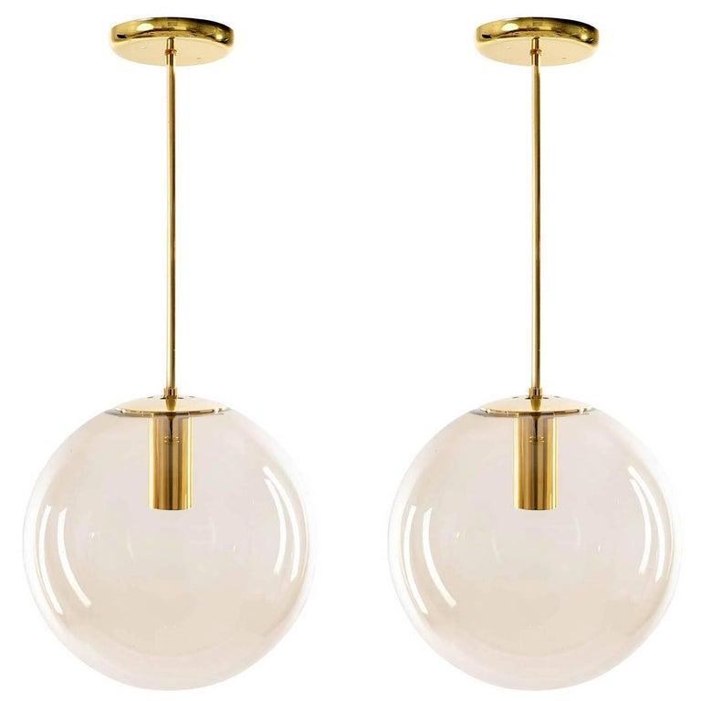 Set of Eight Limburg Globe Pendant Lights, Brass and Smoked Glass, 1970s