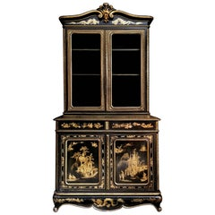 19th Century Chinoiserie Parcel-Gilt Bookcase and Cabinet