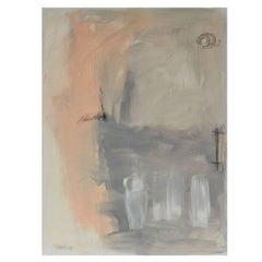 "Modern Acrylic Painting on Canvas ""Peach with Gray Square"" by Robbie Kemper"