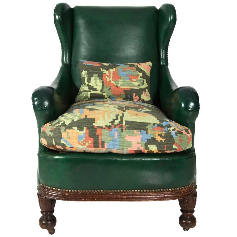 Edwardian Green Leather Club Chair For