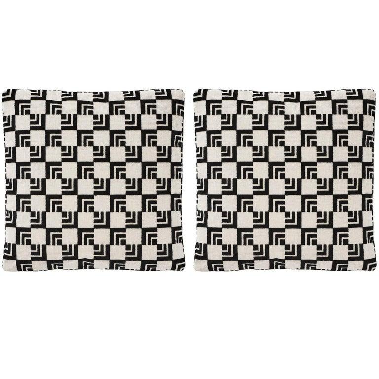 "Schumacher Frank Lloyd Wright Imperial Hotel Velvet Two-Sided 16"" Pillows, Pair"