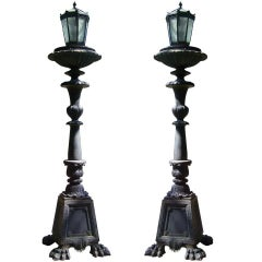19th Century American Iron, Clad in Copper Torchieres or Planters