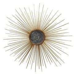 Large Contemporary Florentine Gilt Reclaimed Wood Sunburst Mirror