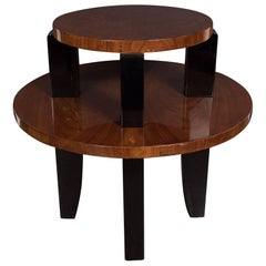French Art Deco Two-Tier Occasional/Side Table in Walnut and Black Lacquer