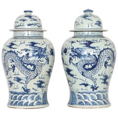 Chinese Export Ginger Jars in Blue and White