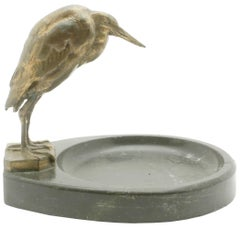 Art Nouveau Vide Poche with Marble Base, Depicts Figure of Marabou, circa 1920