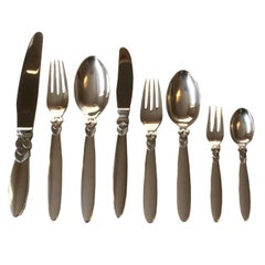 Georg Jensen Sterling Silver Cactus Flatware Set for 12 People, 96 Pieces