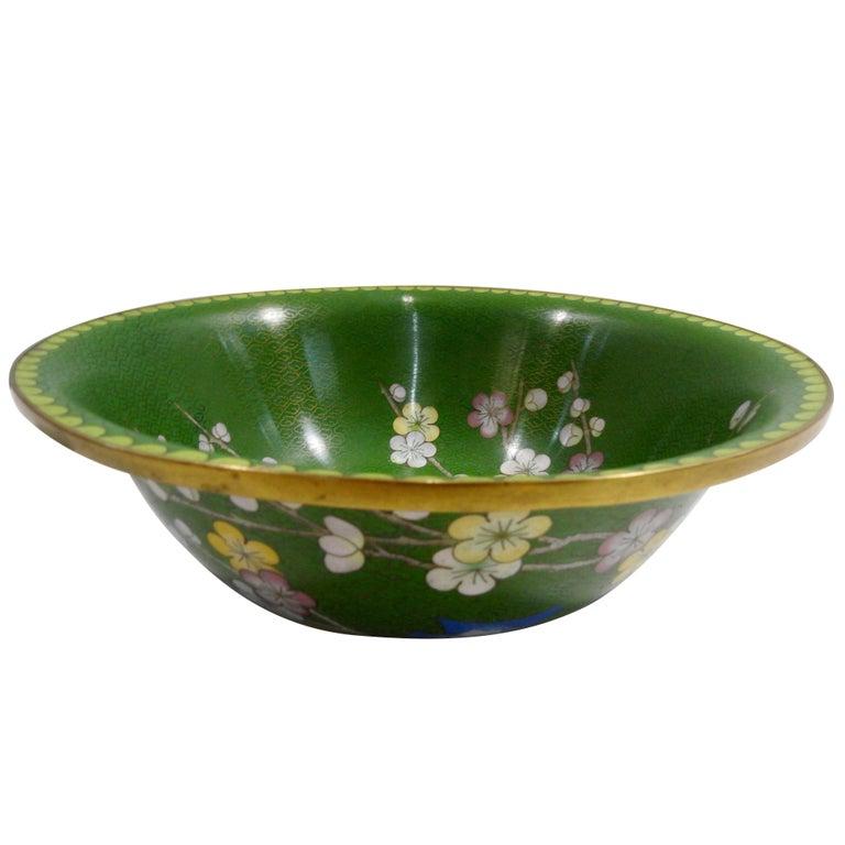 Mid Century Cloisonne Bowl with Floral Details