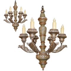 Pair of Italian Carved and Lacquered Chandeliers