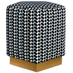 Ermes Pentagon Pouf with Curvature Collection and Brass or Steel Plinth