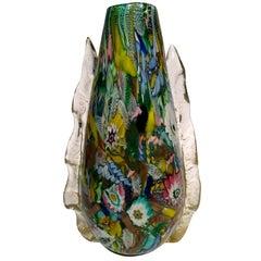 AVeM Vase , Artistic Blown Murano Glass, Multicolored and Green, circa 1950