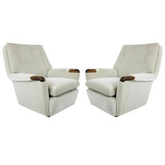 Pair of Vintage Italian Lounge Chairs in Holly Hunt Velvet
