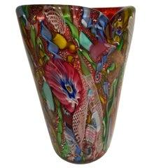 AVeM Vase , Artistic Blown Murano Glass, Multicolored and red, circa 1950