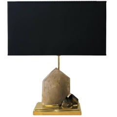 Smoke Crystal Quartz and Brass Table Lamp