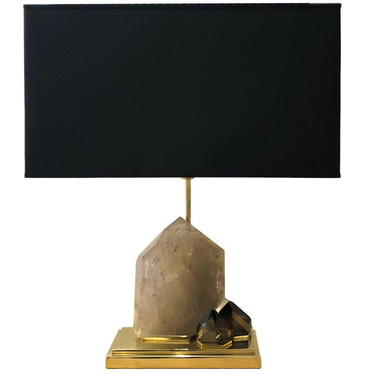 Smoke Crystal Quartz and Brass Table Lamp For Sale