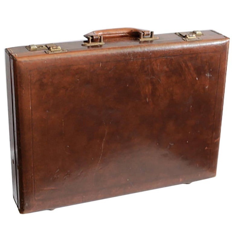 Midcentury Hand-Stitched Leather and Brass Briefcase, circa 1970 For Sale