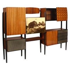 Midcentury Cantù Bookshelf Sideboard Borsani Style Ebonized Walnut Structure