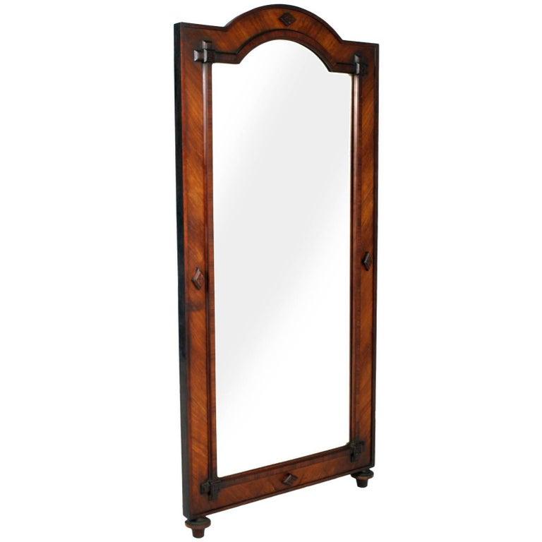 19th Century Large & Heavy Floor Mirror in Solid and Walnut Veneer Wax Polished