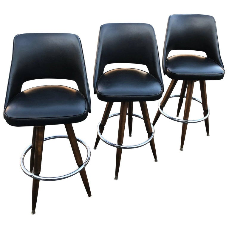 Set of Three Black Faux-Leather Bar Stools