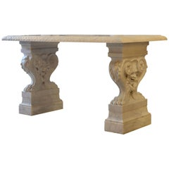 Magnificent 19th Century Carved Italian Neoclassical Marble Twin Console Table