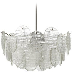 Kalmar Blatt Chandelier, Textured Glass Nickel, 1970s