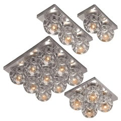 Modern Peill & Putzler Fush mounts/ Light Fixtures with Faceted Glass on Chrome