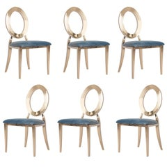 """Set Of 6 Gold And Blue Velvet """"Louise"""" Chairs"""