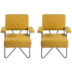 Pair Of Black Metal And Yellow Fabrik Mid Century Design Armchairs