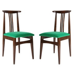 Pair of Zielinski chairs, type 200 / 100B, green velvet, Poland, 1960s