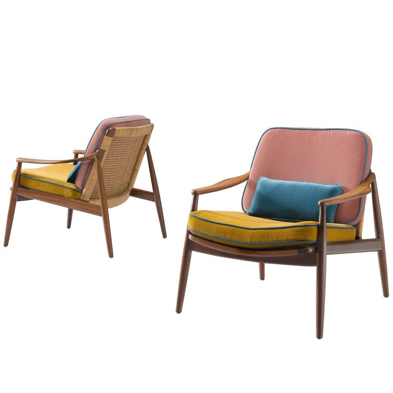 1950s Lounge Armchairs Re Upholstered In Multicolored: Hartmut Lohmeyer Reupholstered Armchairs In Teak And Cane