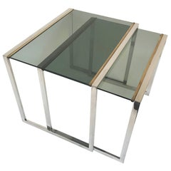 Nest of tables in metal and brass smoked glass: France 1970s
